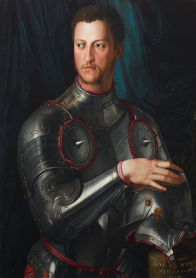 Bronzino, Agnolo: Portrait of Cosimo I de Medici in Armour. Fine Art Print/Poster. Sizes: A4/A3/A2/A1 (001974)